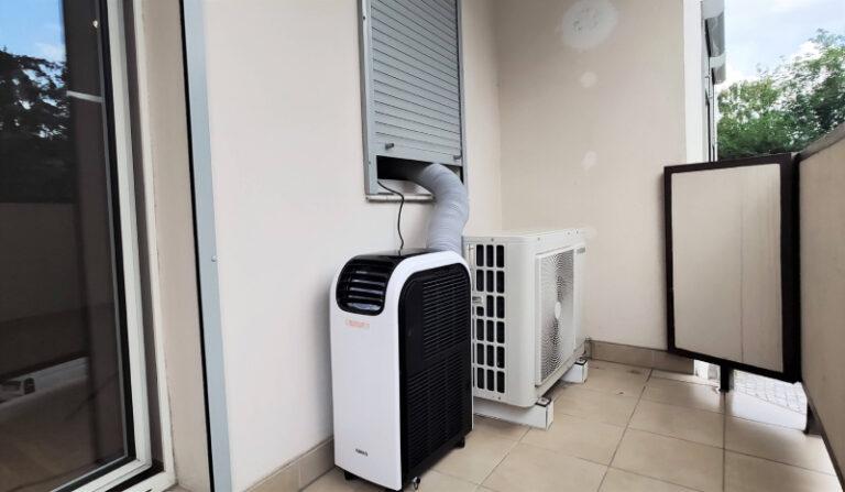 Klimatyzator przenośny Eberg QUBO Q40NE na zewnątrz