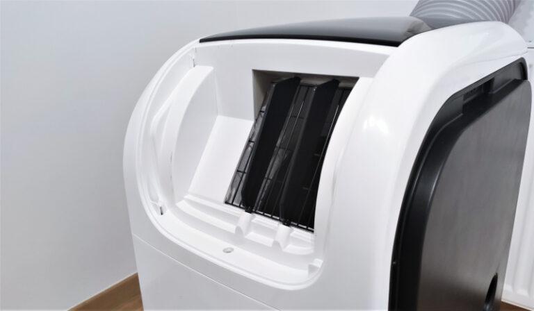 Klimatyzator przenośny Qubo Q40NE; Kratka wewnętrza; szerokie łopatki poruszają z włączoną funkcją swing