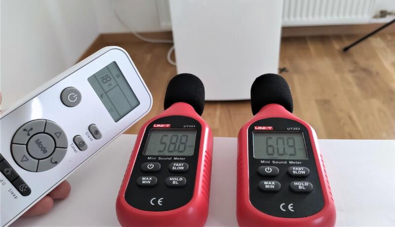 Pomiar dźwięku w trybie sleep, klimatyzator przenośny Whirlpool PACW29COL