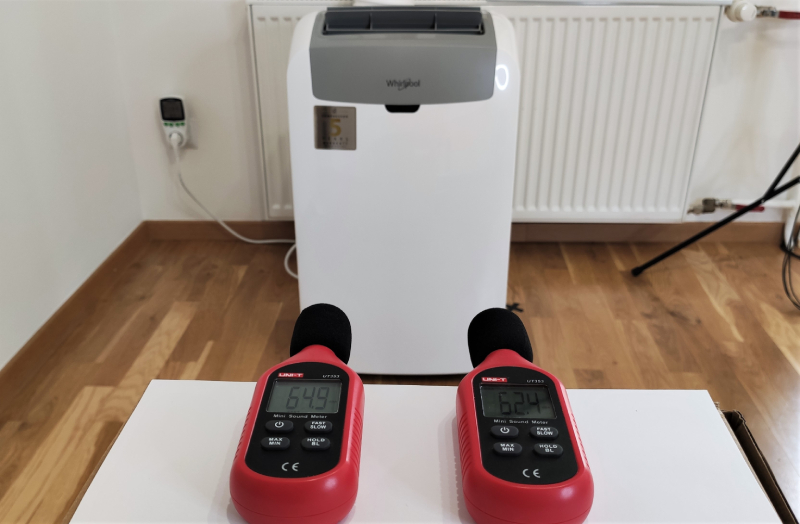 Pomiar natężenia dźwięku; klimatyzator pokojowy Whirlpool PACW29COL