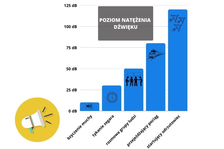 wykres przedstawiający poziom natężenia dźwięku
