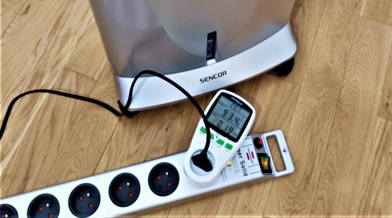 Odczyt watomierza dla klimatora Sencor SFN 9011SL test nachlodno.pl