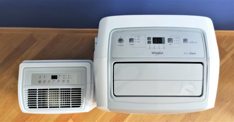 Osuszacz powietrza Warmtec OTD-35 i klimatyzator przenośny Whirlpool PACW29COL